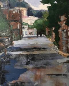 Boulder (oil on canvas paper) by artist Kathleen Gefell, New York