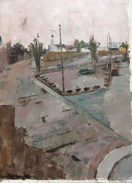 Bridgeport, CT (oil on paper) by artist Kathleen Gefell, New York