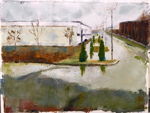 Bridgeport, Ct.: East End (oil on canvas paper) by artist Kathleen Gefell, New York