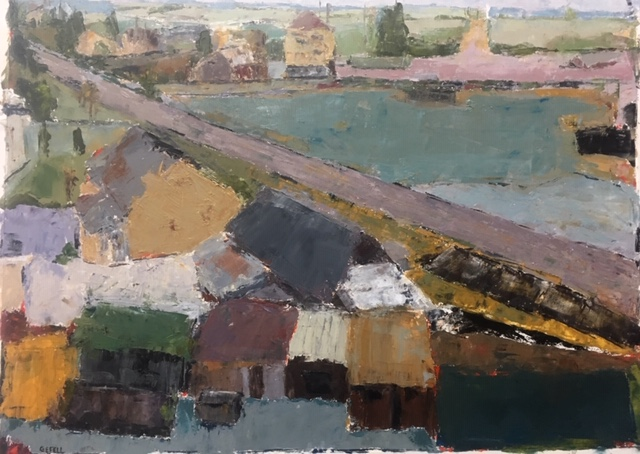 Outskirts (oil on paper) by artist Kathleen Gefell, New York