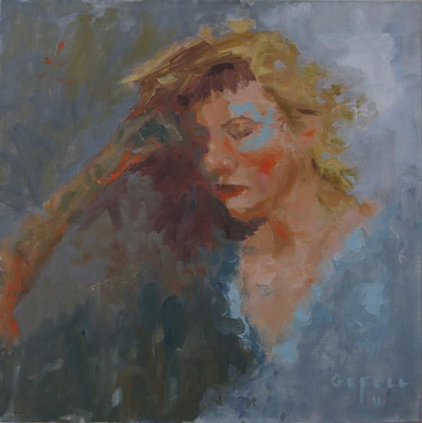 Blue Girl (oil on canvas) by artist Kathleen Gefell, New York