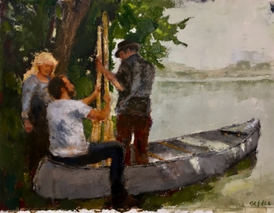 By the Lake (oil on oil paper) by artist Kathleen Gefell, New York