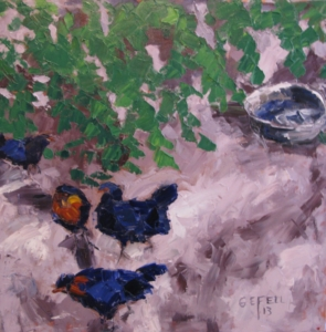 Chickens (oil on canvas) by artist Kathleen Gefell, New York