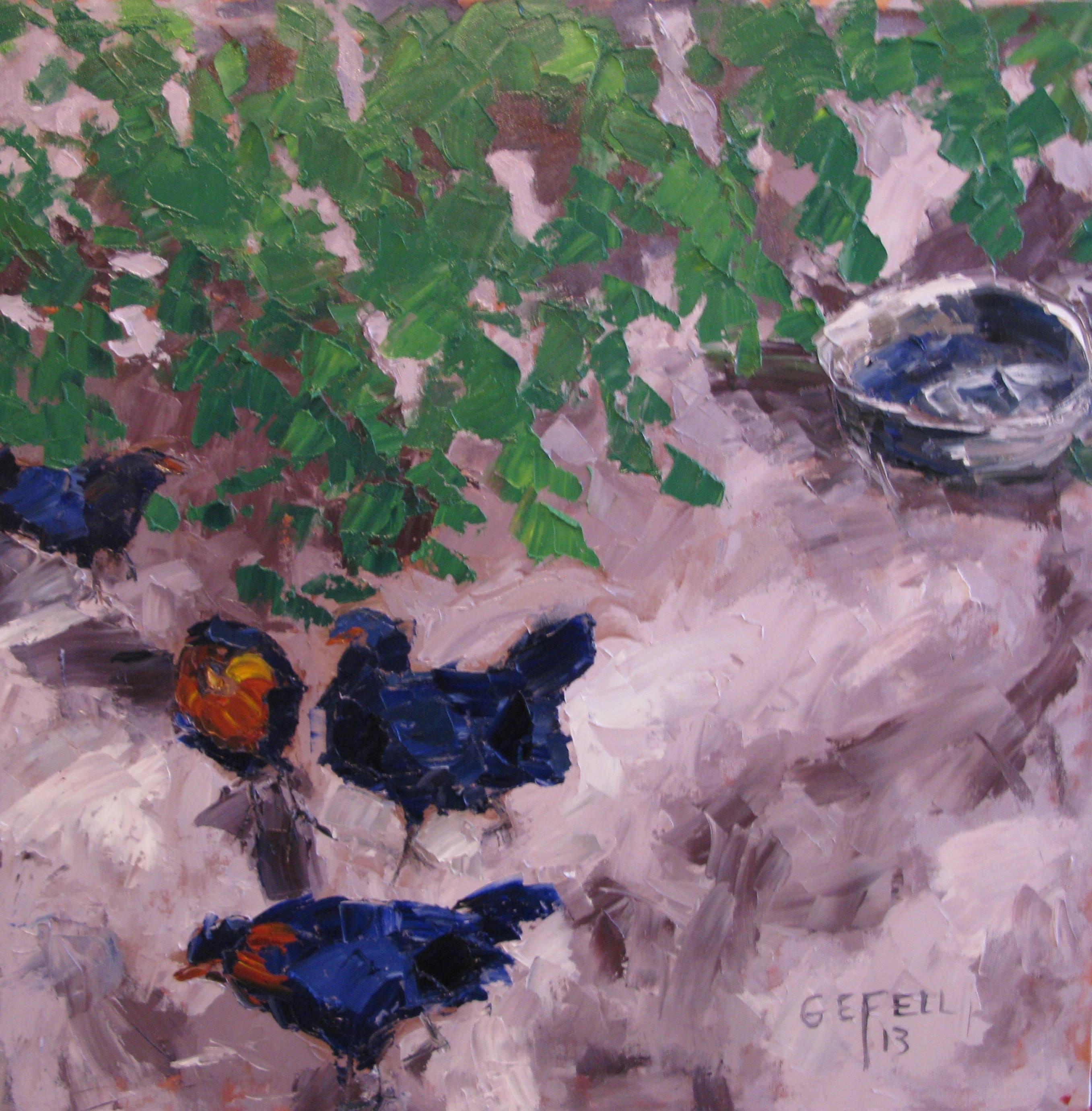 Chickens (oil on canvas) by artist Kathleen Gefell, New York