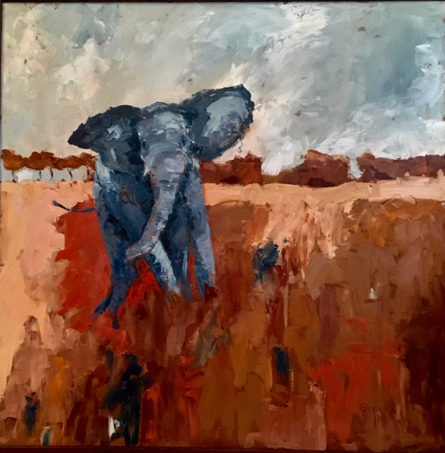 Elephant (oil on canvas) by artist Kathleen Gefell, New York
