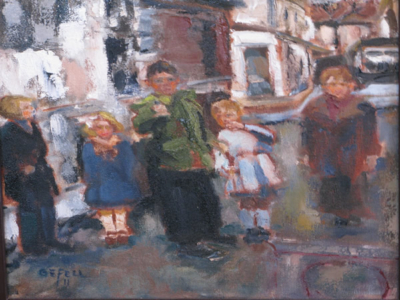 Kinder (oil on canvas) by artist Kathleen Gefell, New York