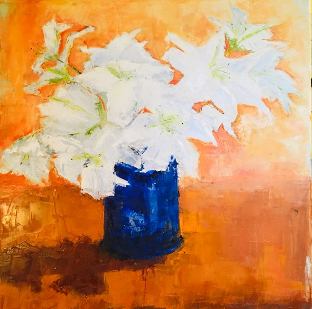 Lilies (oil on canvas) by artist Kathleen Gefell, New York