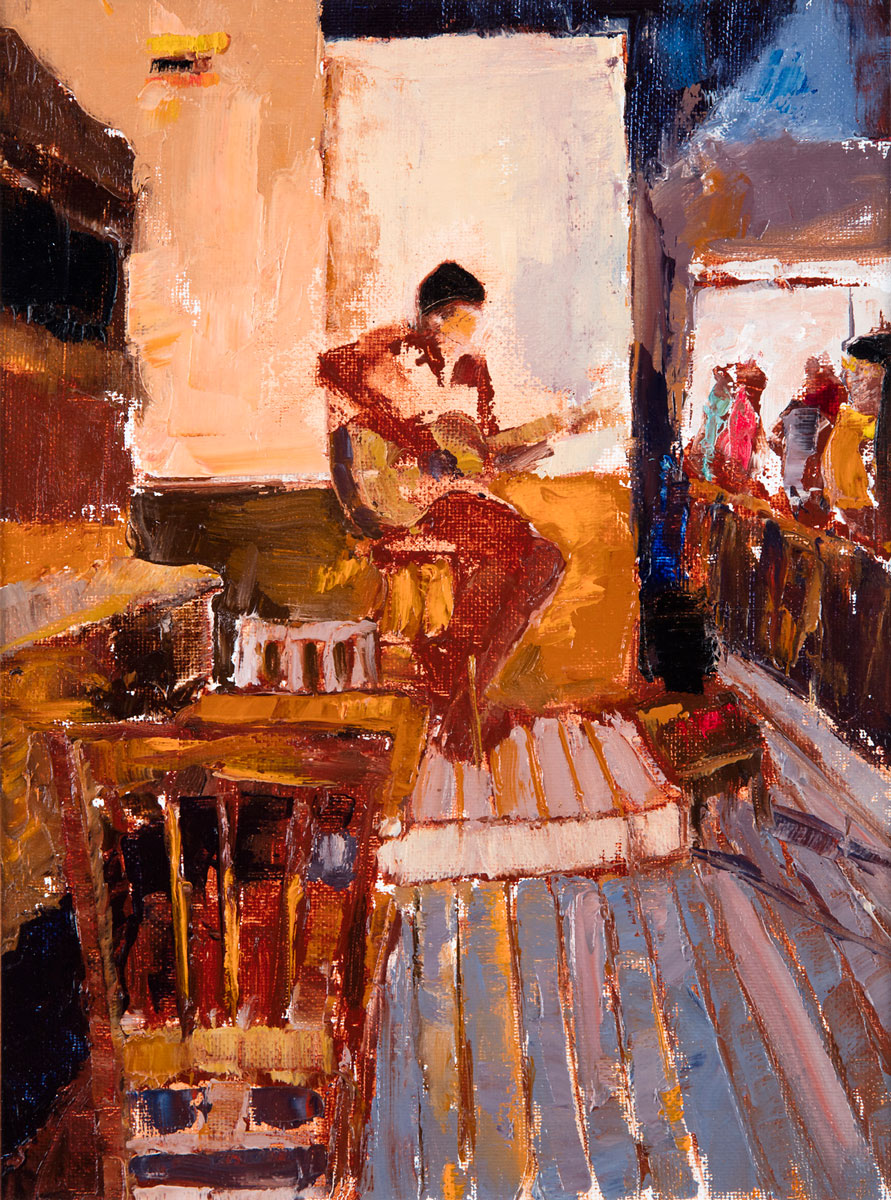 Live Music (oil on canvas paper) by artist Kathleen Gefell