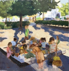 Schoolyard (oil on canvas) by artist Kathleen Gefell, New York
