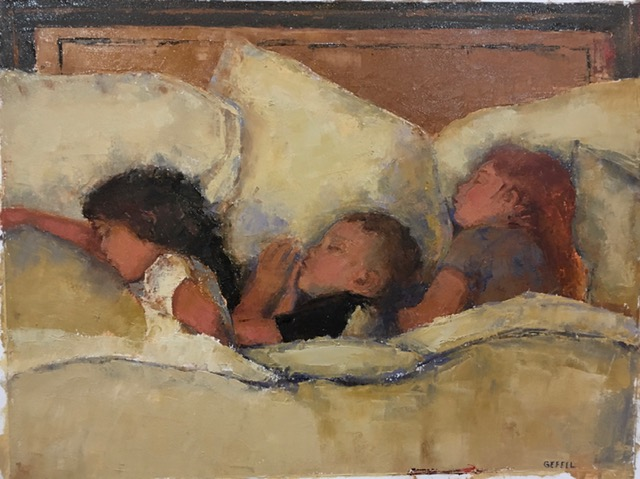 Sleeping Children (oil on oil paper) by artist Kathleen Gefell, New York