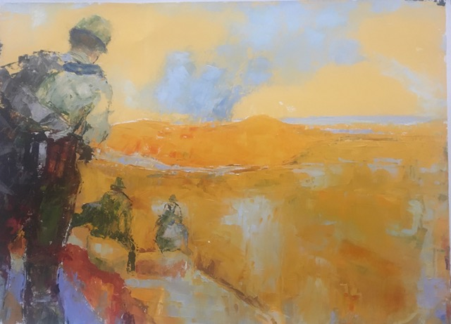 Soldiers III (oil on oil paper) by artist Kathleen Gefell, New York