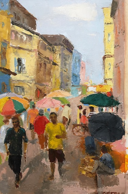 Street Scene (oil on oil paper) by artist Kathleen Gefell, New York