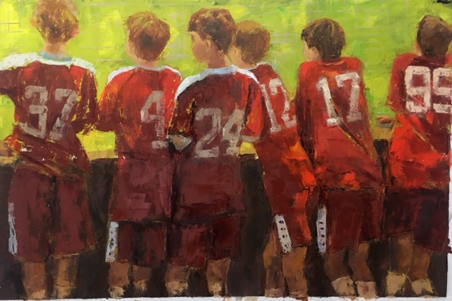 Team Mates (oil on oil paper) by artist Kathleen Gefell, New York
