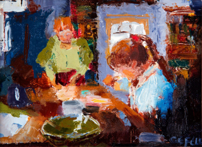 The Bread Makers (oil on canvas paper) by artist Kathleen Gefell