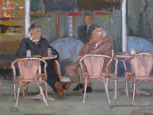 The Cafe (oil on canvas) by artist Kathleen Gefell, New York