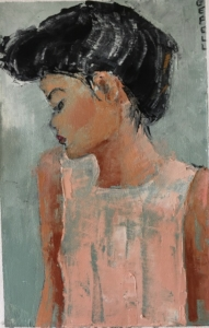 Updo (oil on oil paper) by artist Kathleen Gefell, New York