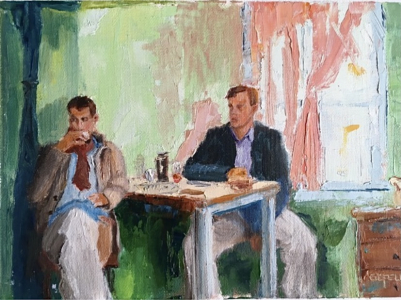 Brothers (oil on canvas paper) by artist Kathleen Gefell, New York