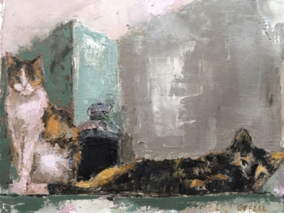 Cats (oil on canvas) by artist Kathleen Gefell, New York