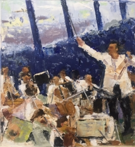 Conductor (oil on paper) by artist Kathleen Gefell, New York