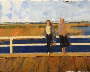 Girlfriends (oil on paper) by artist Kathleen Gefell, New York
