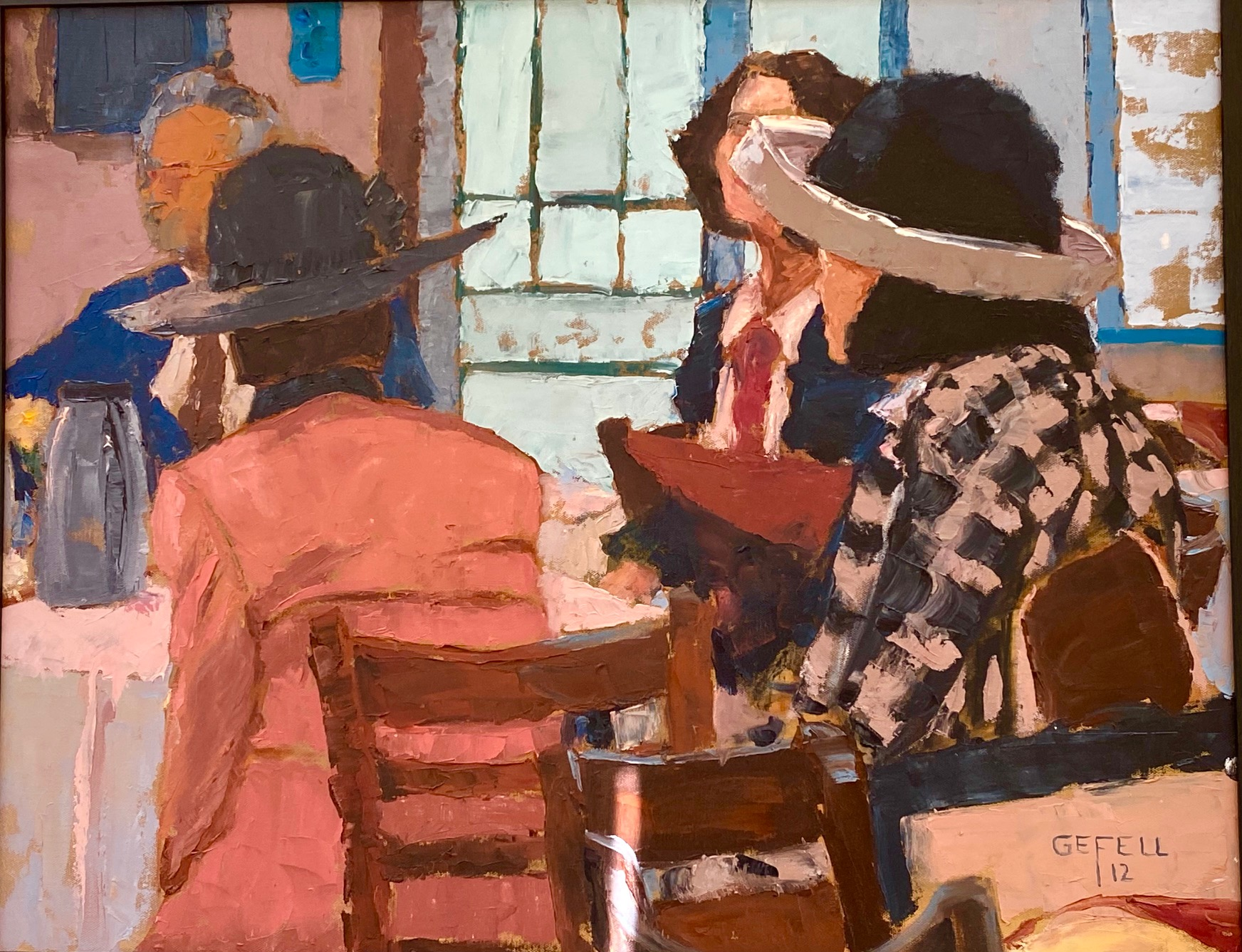 Hats (oil on canvas) by artist Kathleen Gefell, New York