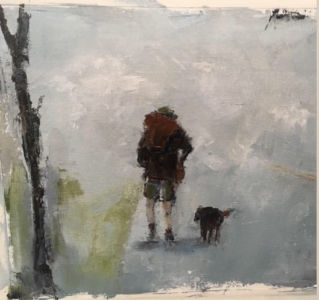 The Hike (oil on paper) by artist Kathleen Gefell, New York