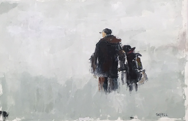 Into the Snow (oil on paper) by artist Kathleen Gefell, New York
