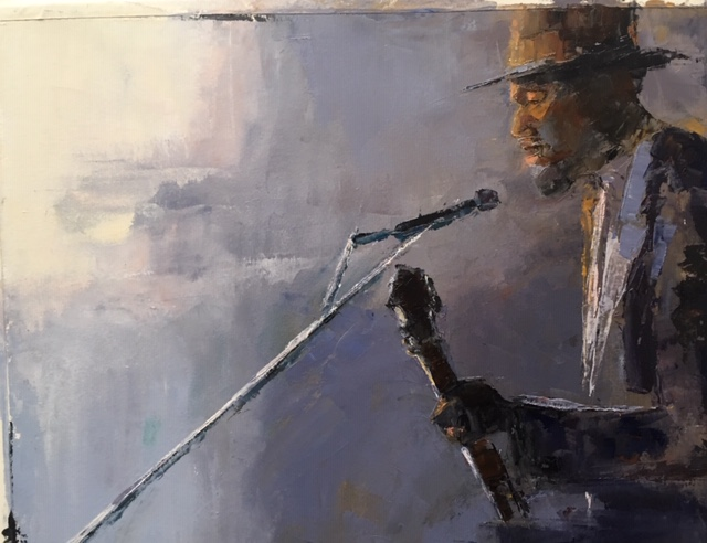 Jazz Man (oil on paper) by artist Kathleen Gefell, New York