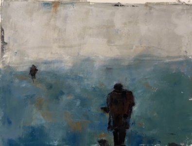 Man Following (oil on paper) by artist Kathleen Gefell, New York