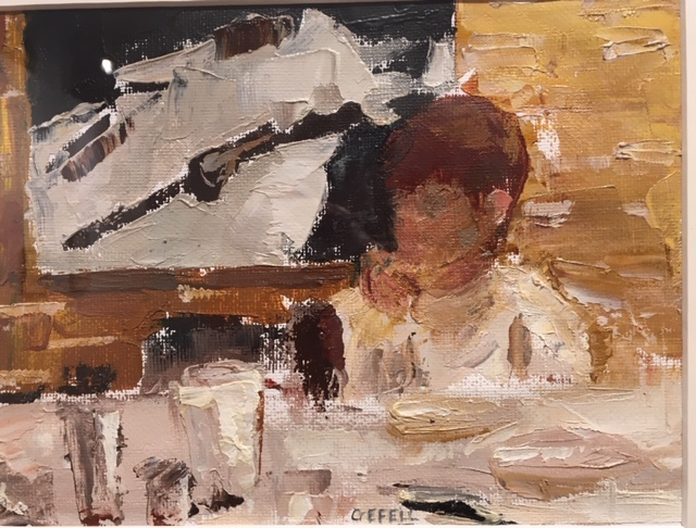 Oscar at Table (oil on canvas paper) by artist Kathleen Gefell, New York