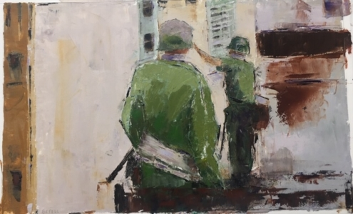 Soldiers: no.1 (oil on paper) by artist Kathleen Gefell, New York