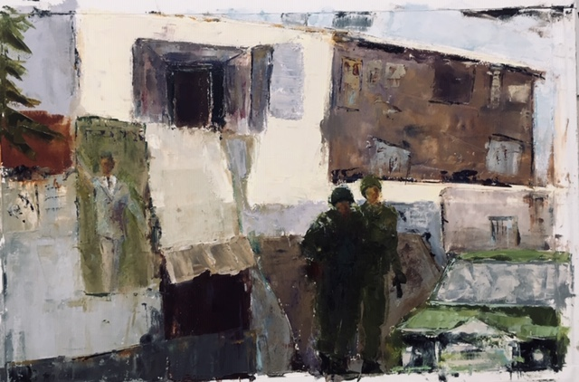 Soldiers: no.2 (oil on paper) by artist Kathleen Gefell, New York