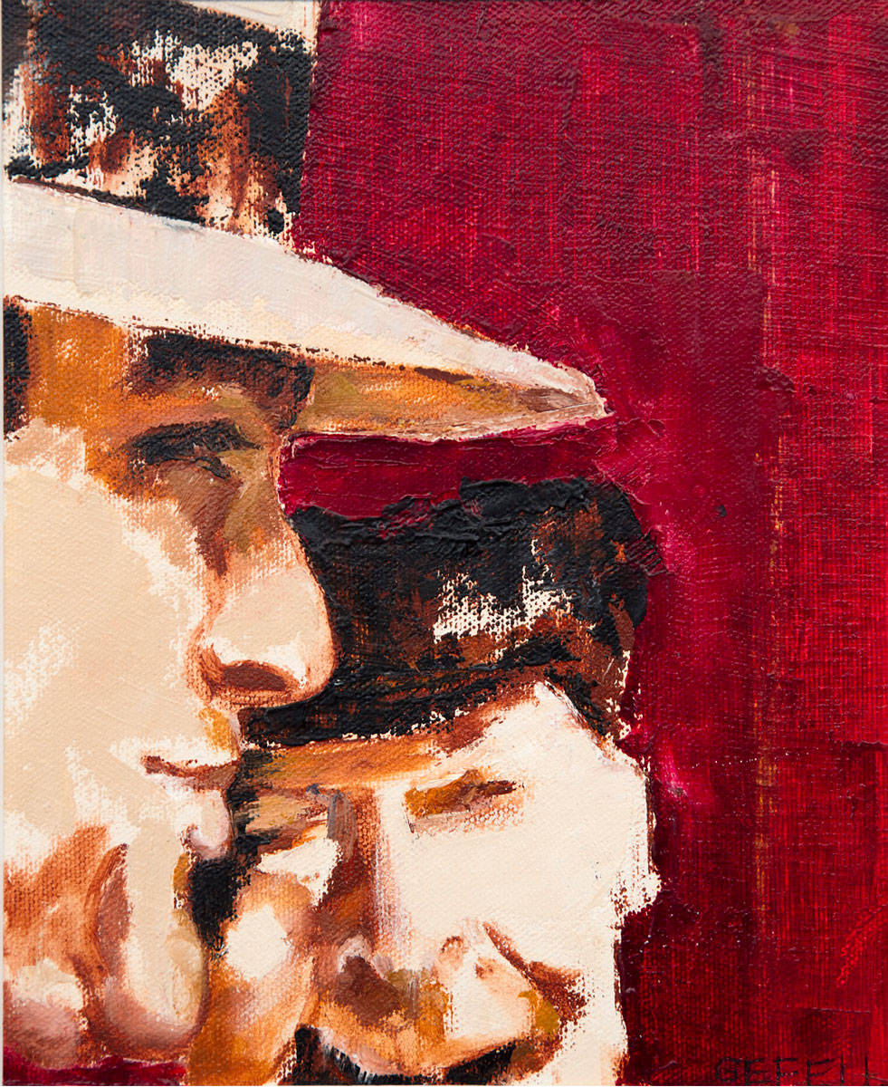 Two Men (oil on canvas paper) by artist Kathleen Gefell, New York