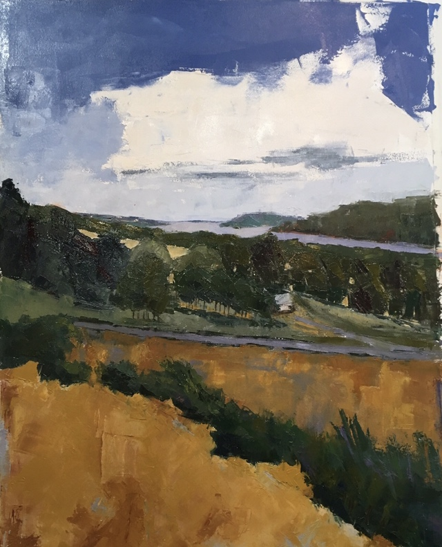 Carole's View (oil on oil paper) by artist Kathleen Gefell, New York