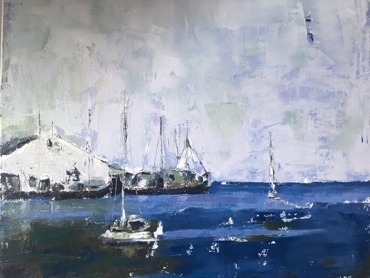 Blue Sea (oil on canvas) by artist Kathleen Gefell, New York