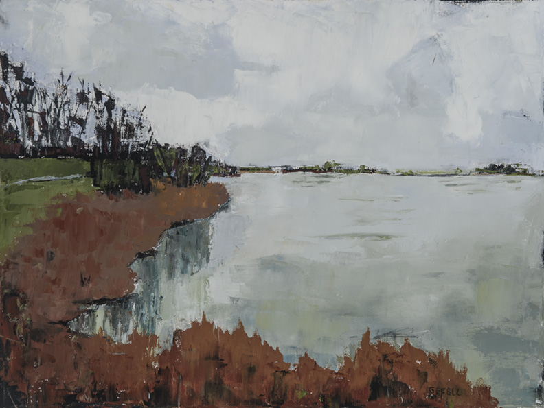 Connecticut River (oil on canvas) by artist Kathleen Gefell, New York