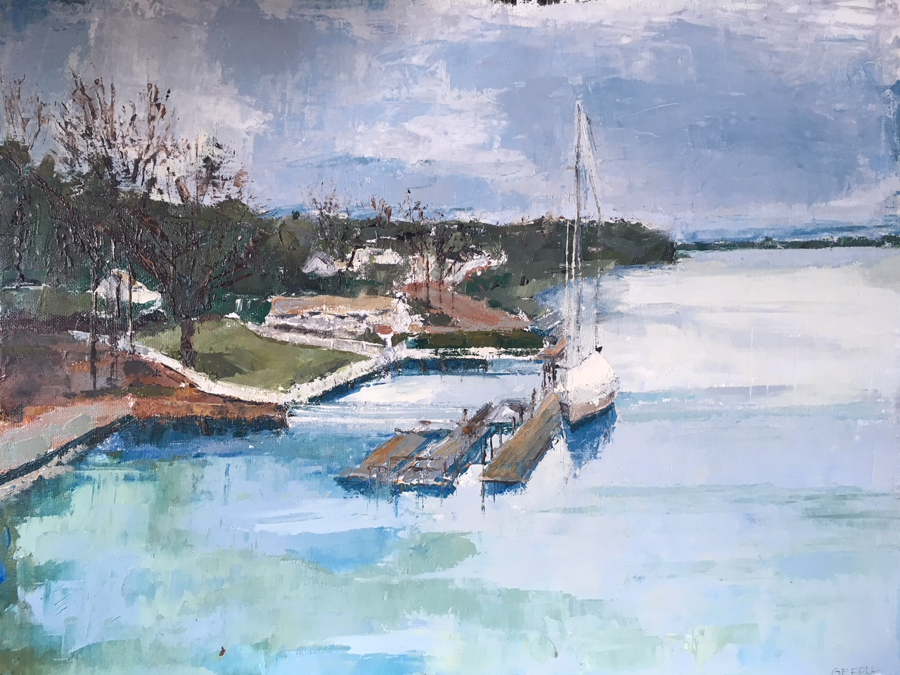 Connecticut River: Hibernation (oil on canvas) by artist Kathleen Gefell, New York