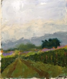 Cornfield (oil on paper) by artist Kathleen Gefell, New York