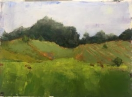 Green Fields (oil on paper) by artist Kathleen Gefell, New York