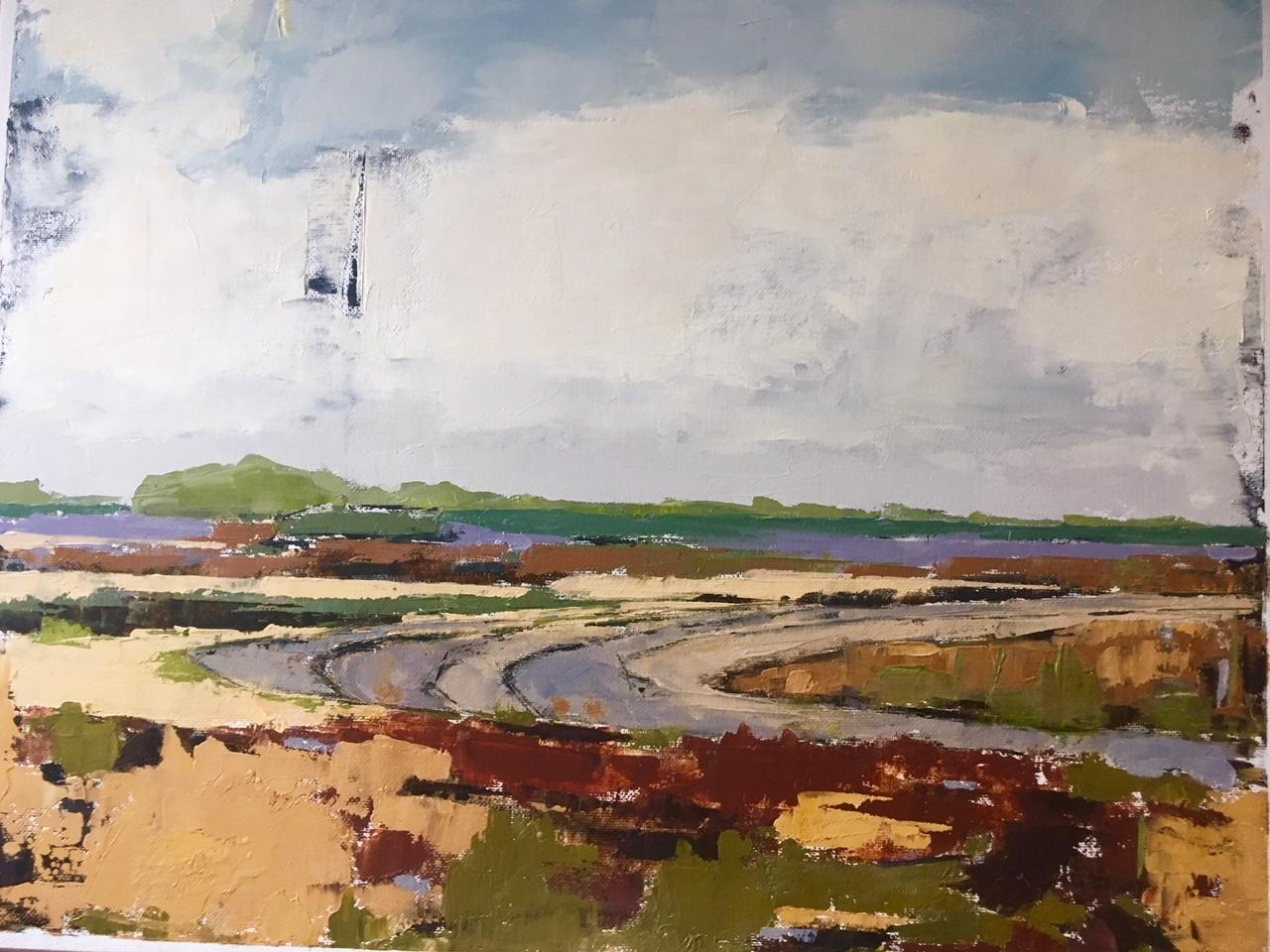 Lavendar Horizon (oil on canvas)) by artist Kathleen Gefell, New York