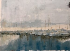 Masts (oil on paper) by artist Kathleen Gefell, New York