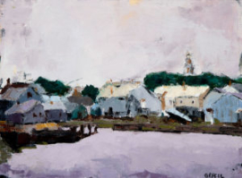 Nantucket Harbour Houses (oil on canvas paper) by artist Kathleen Gefell, New York