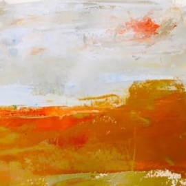 Orange Day (oil on paper) by artist Kathleen Gefell, New York