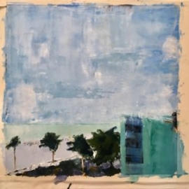 Palm Trees (oil on paper) by artist Kathleen Gefell, New York