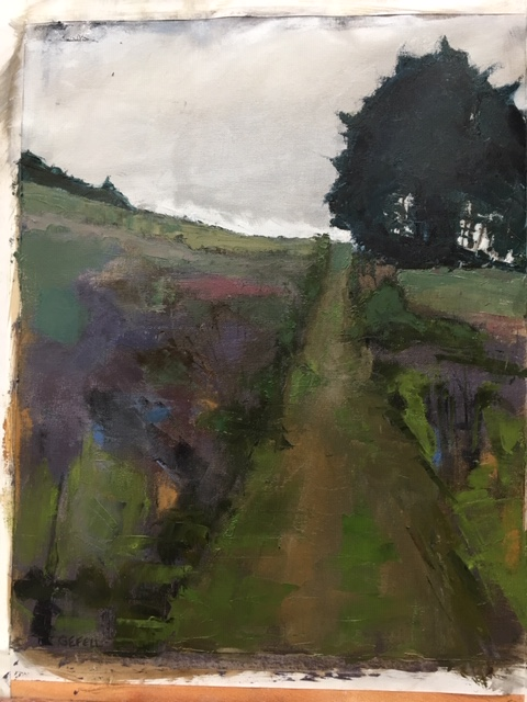 Scottish Path (oil on canvas paper) by artist Kathleen Gefell, New York