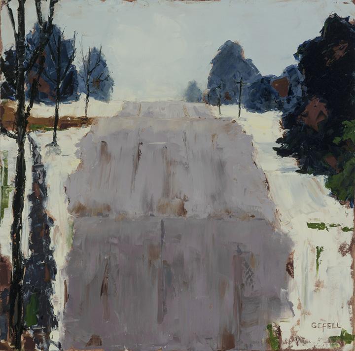 Snowy Road (oil) by artist Kathleen Gefell, New York