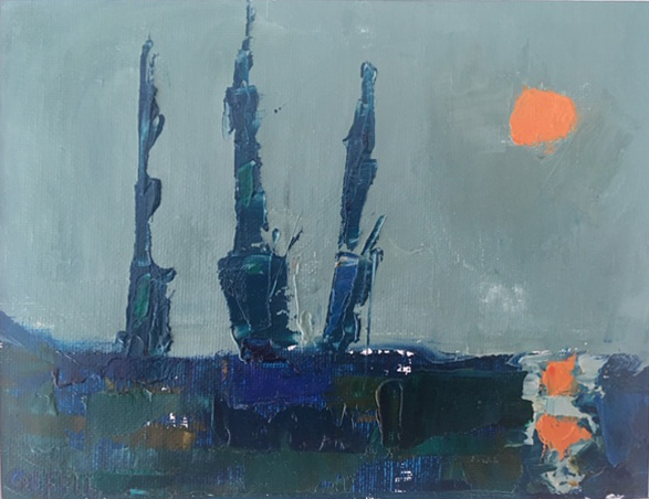 Three Ships (oil on canvas paper) by artist Kathleen Gefell, New York
