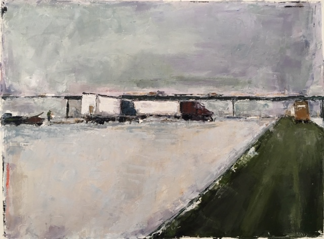 Thruway (oil on paper) by artist Kathleen Gefell, New York