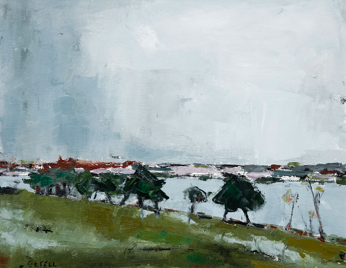 Trees on Connecticut River (oil on canvas) by artist Kathleen Gefell, New York