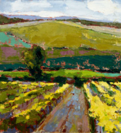 Vineyard II (oil) by artist Kathleen Gefell, New York